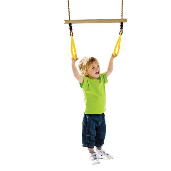 Leagan trapez din lemn cu inele din plastic galben imagine