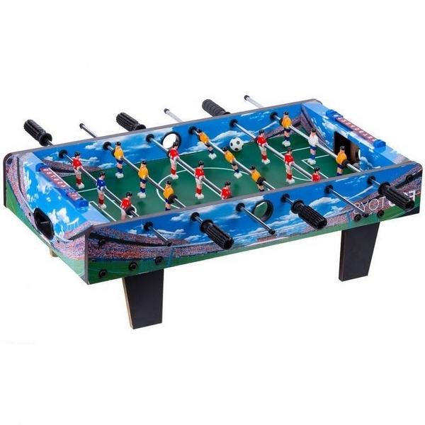 Masa de fotbal din lemn Ecotoys 70 x 36 x 24 cm albastru