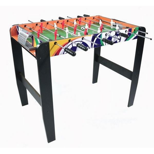 Masa de fotbal din lemn 50 x 90 cm Ecotoys natur cu wenge