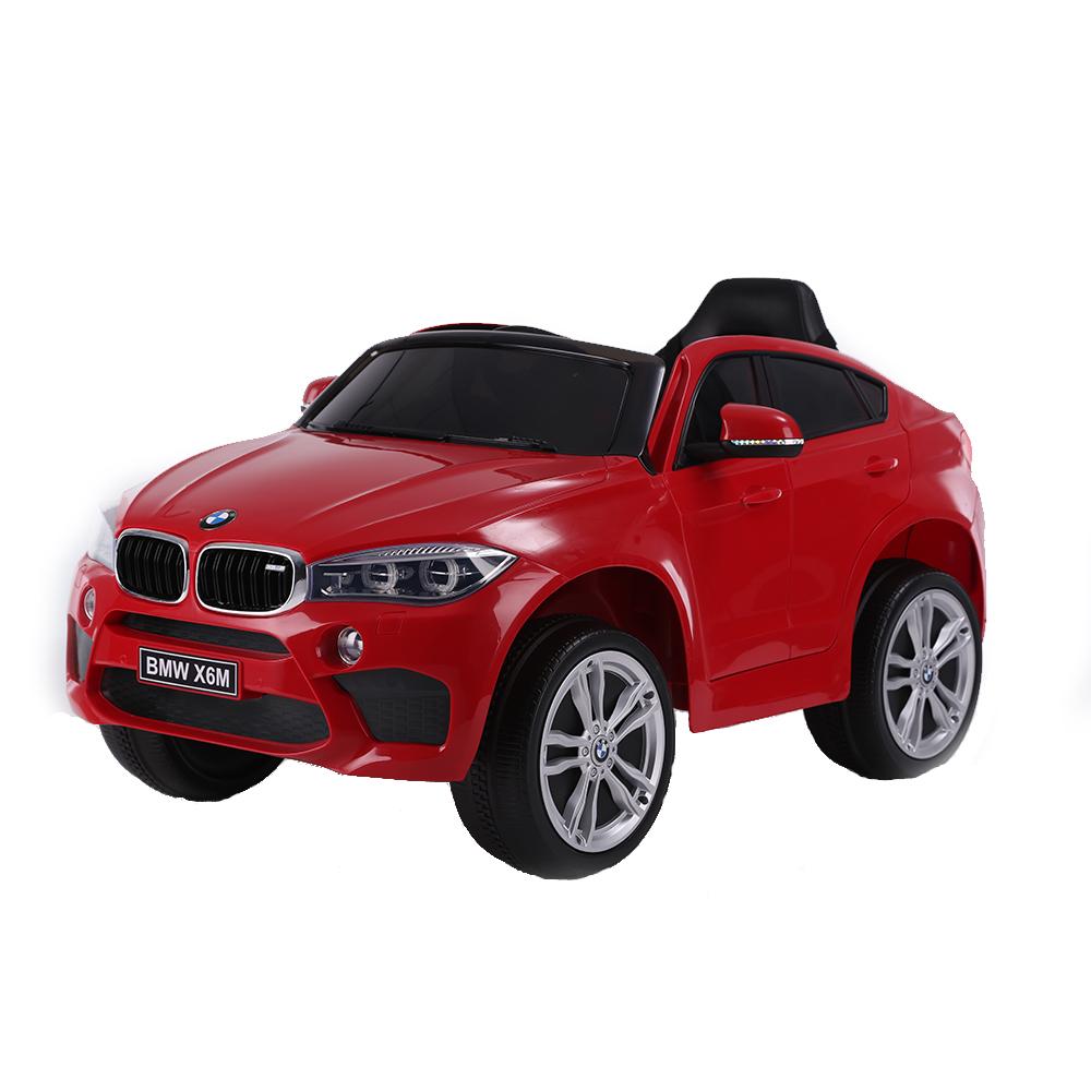 Masinuta electrica cu roti din cauciuc si scaun de piele BMW X6M Red imagine