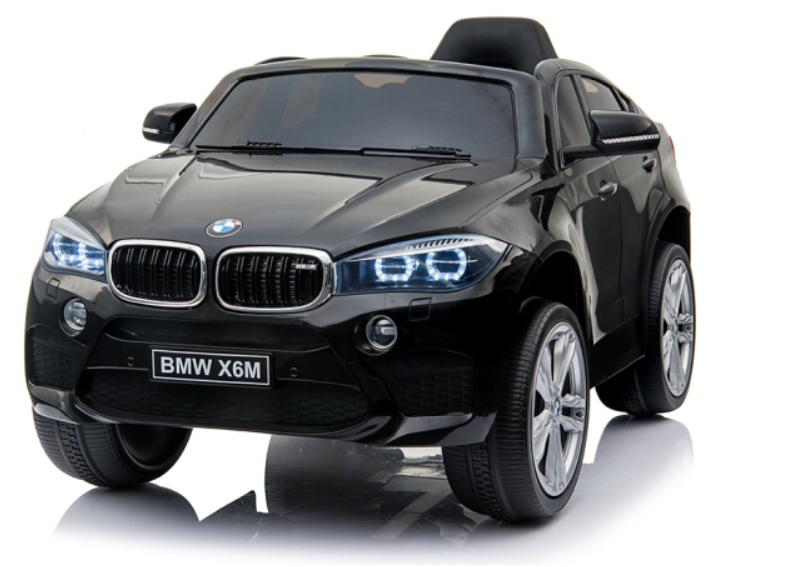 Masinuta electrica cu roti din cauciuc si scaun de piele BMW X6M Black