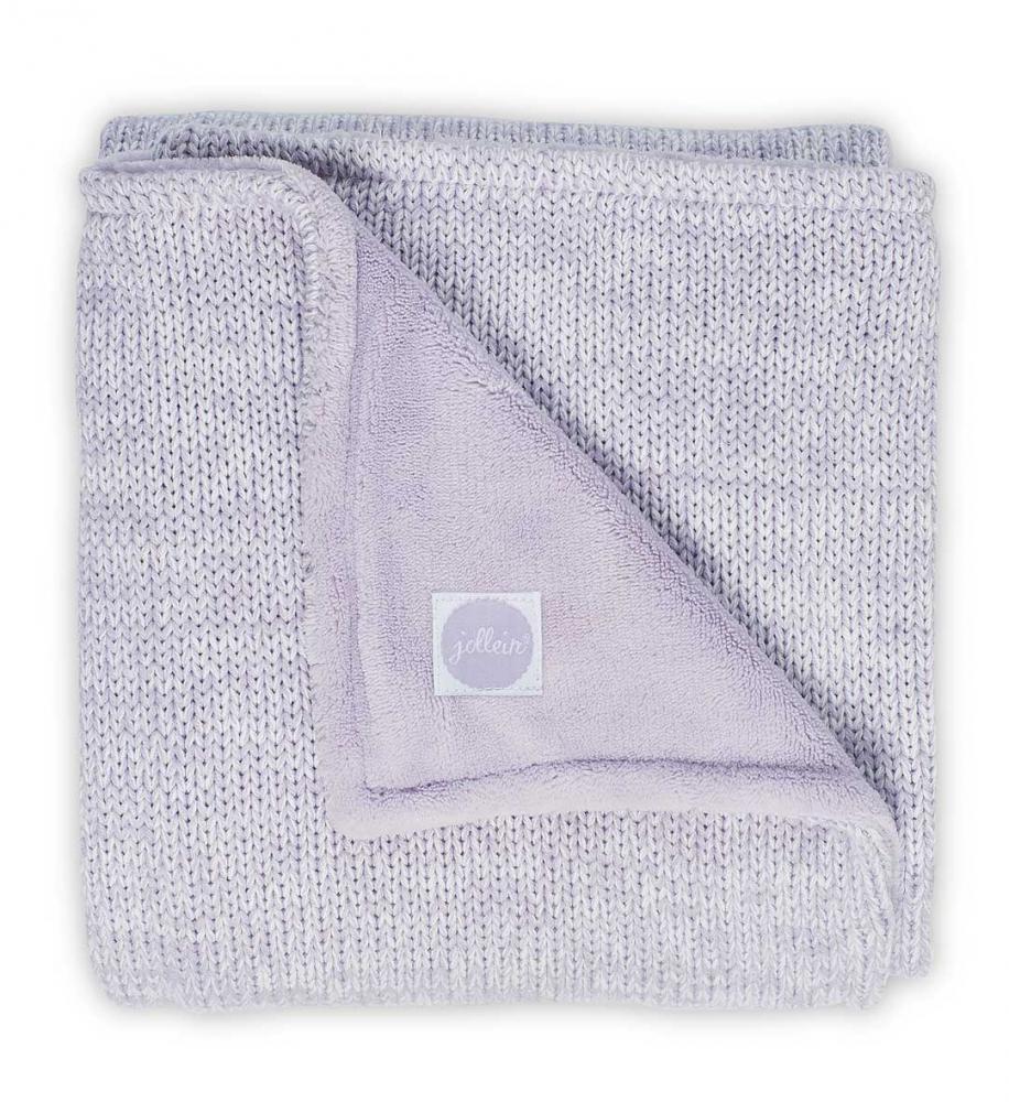 Paturica bebe 2 fete tricot fleece Jollein Melange 100x150 cm lila