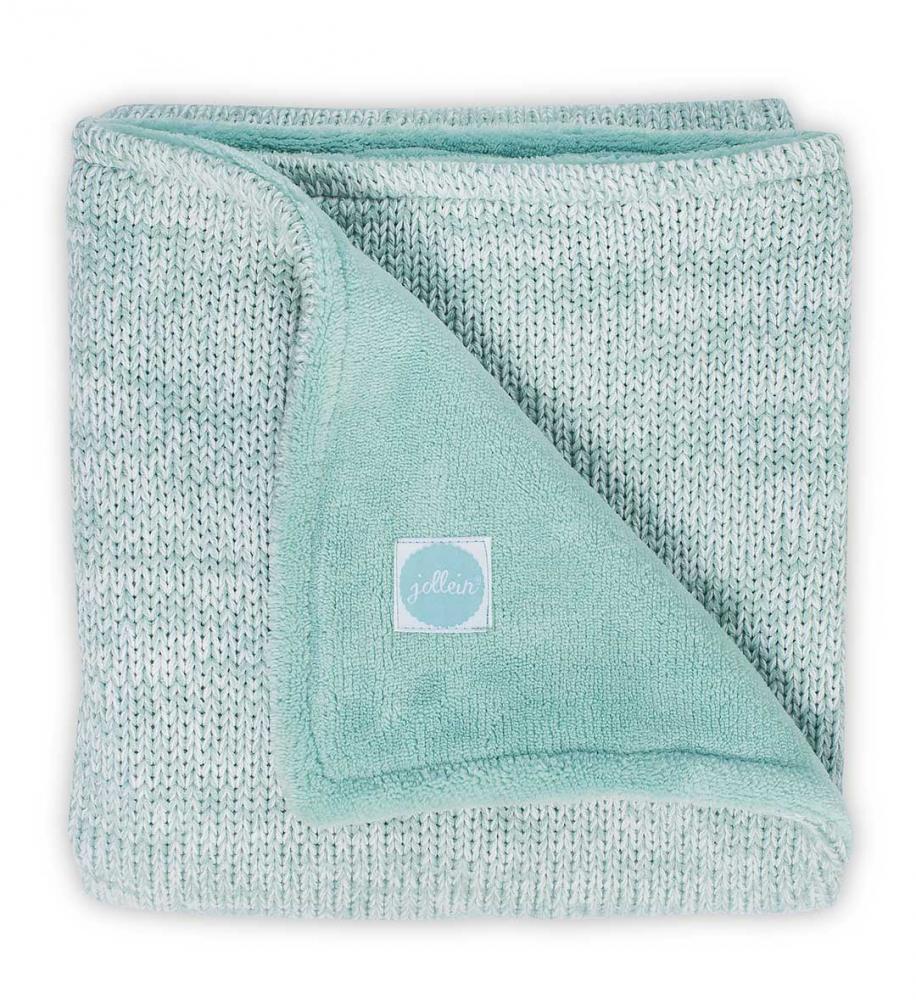 Paturica bebe 2 fete tricot fleece Jollein Melange 100x150 cm verde