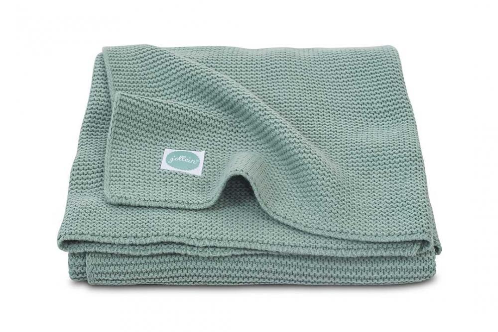 Paturica bebe Jollein Basic tricot verde 100x150 cm