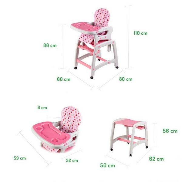 Scaun de masa multifunctional Ecotoys roz cu model