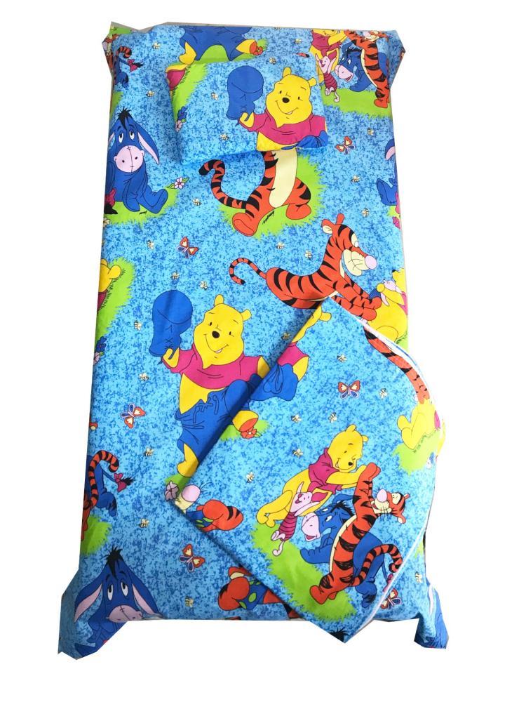 Set 3 piese paturica cu cearsaf si pernuta 120×60 cm Aiurila pe albastru din categoria Camera copilului de la DESEDA