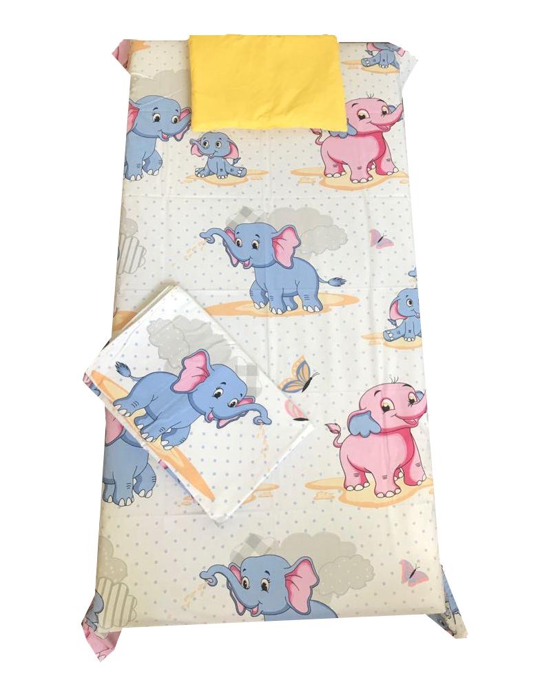 Set 3 piese paturica cu cearsaf si pernuta 120×60 cm Animale din categoria Camera copilului de la DESEDA