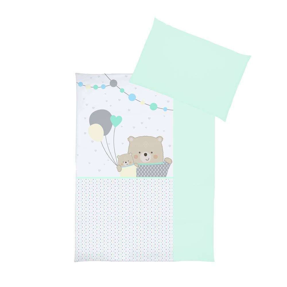 Set lenjerie imprimata 5 piese Teddy Bears with Balloons turquoise
