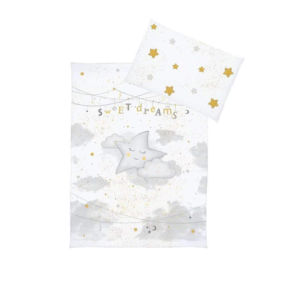 Set lenjerie imprimata satinata 5 piese My Little Star grey gold