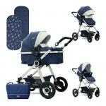 Carucior transformabil 2 in 1 Alexa Dark Blue Birds