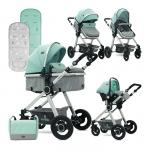 Carucior transformabil 3 in 1 Alexa Green & Grey Birds