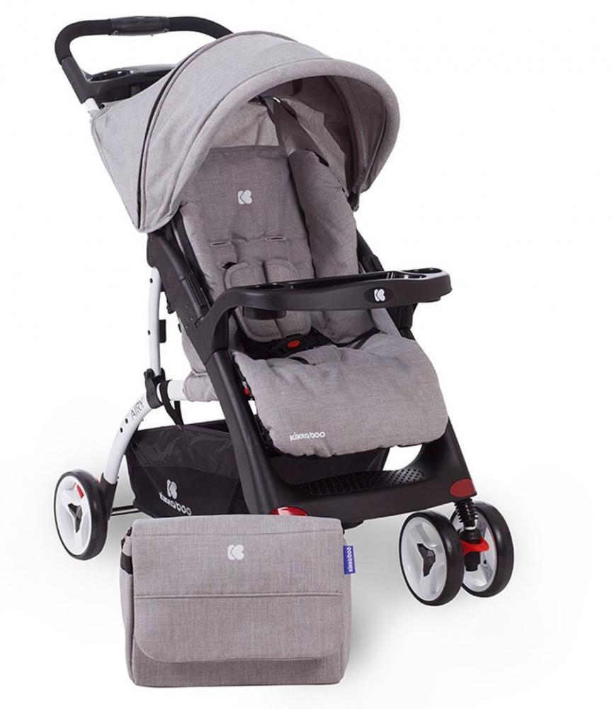 Carucior cu husa picioare si geanta mamici Airy Grey Melange - 8