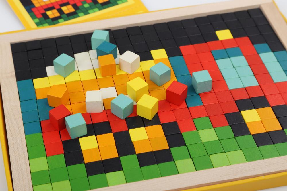 Joc Din Lemn Cubika Mozaic Pixel Cars