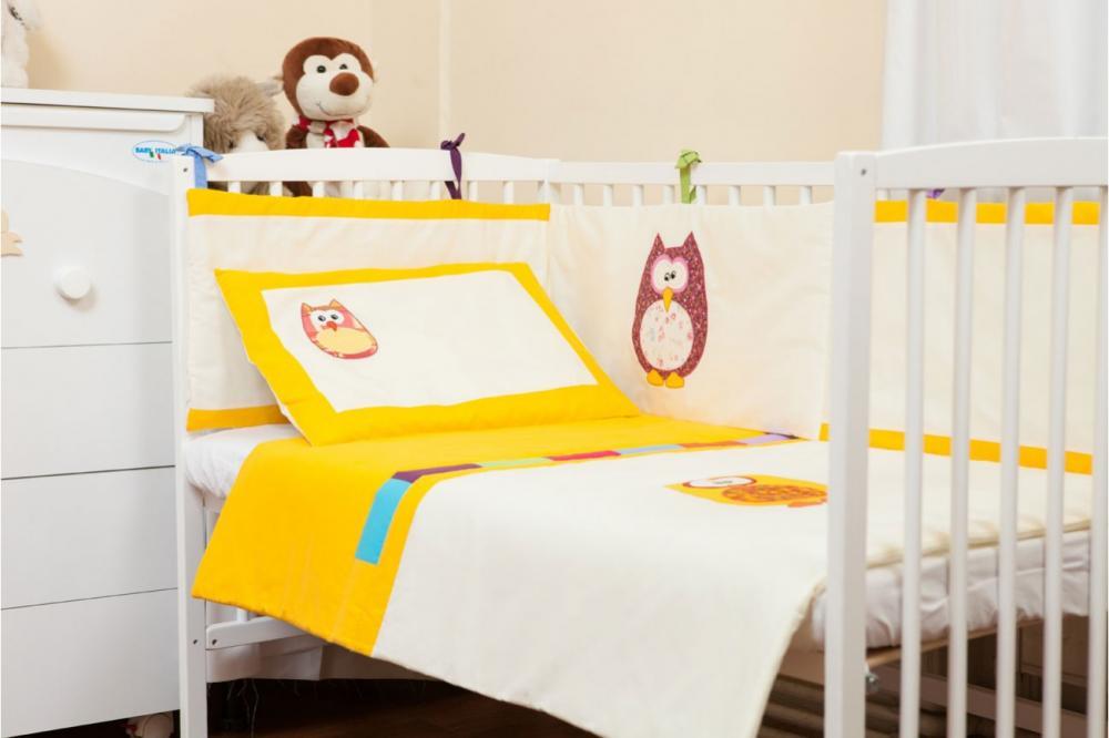 Lenjerie brodata galbena Bufnite 4 piese 70 x 140 cm din categoria Camera copilului de la Kids Decor