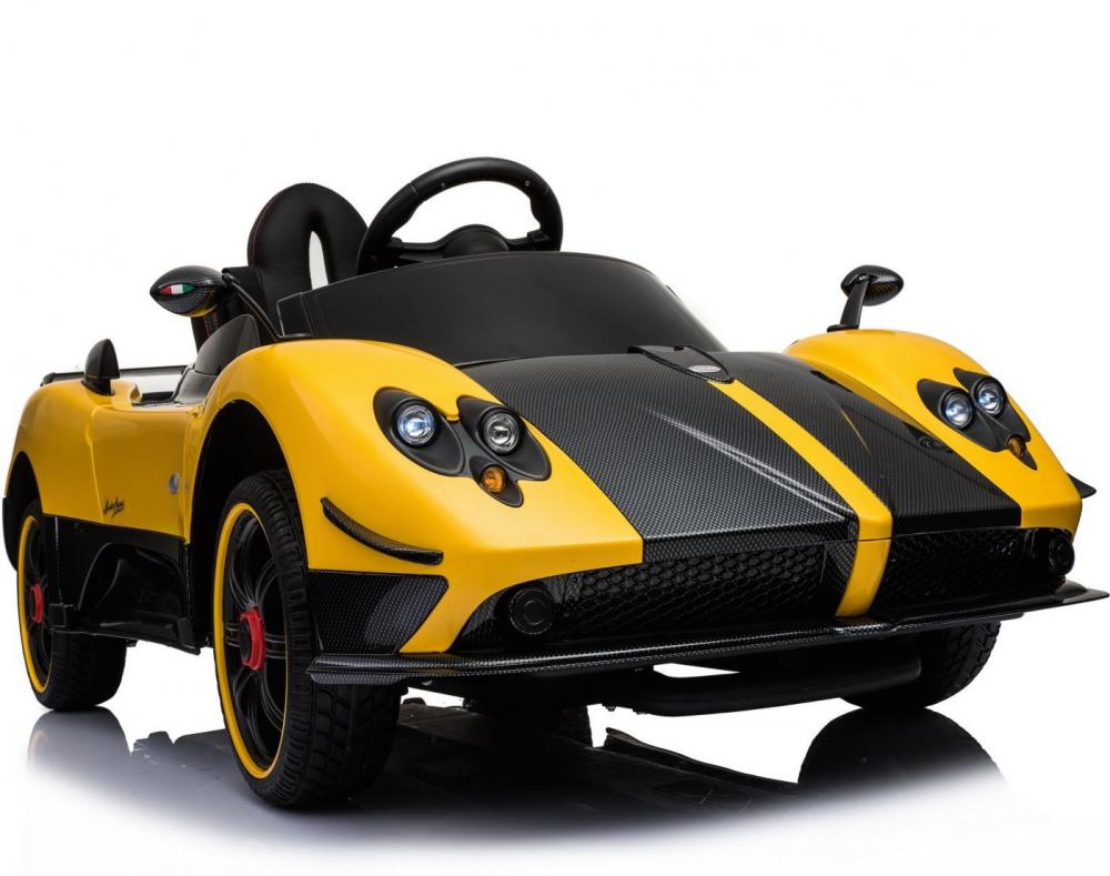 Masinuta electrica Pagani Zonda cu telecomanda si roti din cauciuc Yellow