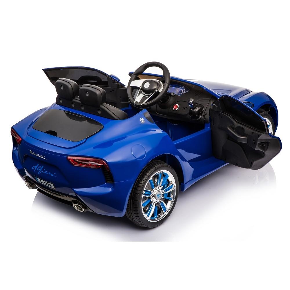 Masinuta electrica cu roti din cauciuc Maserati albastru - 4
