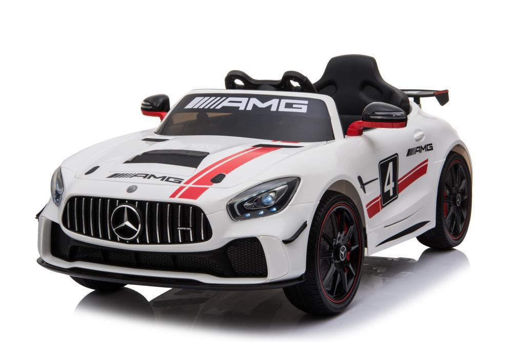 Masinuta electrica Mercedes AMG GTR 4 cu roti din cauciuc White