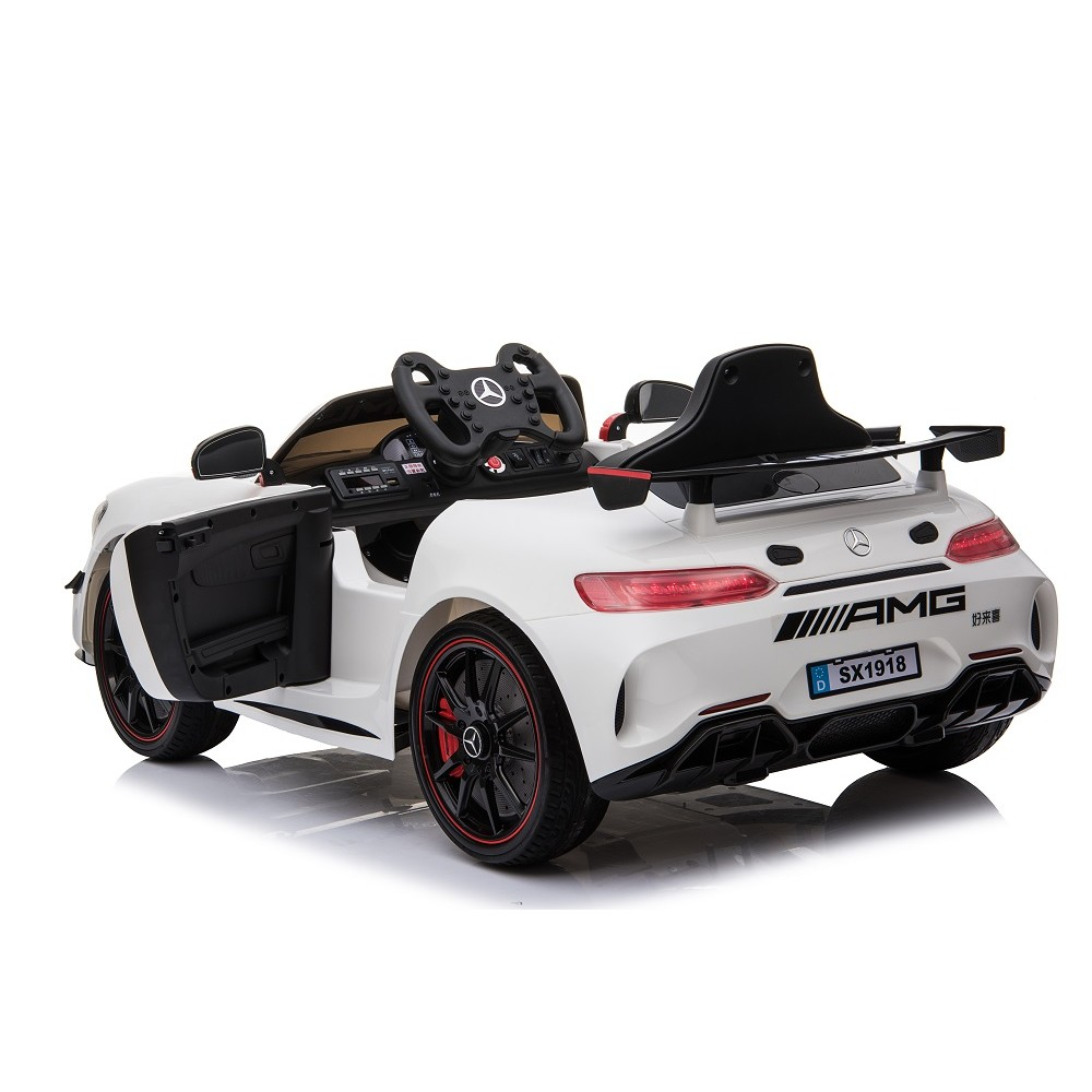Masinuta electrica cu roti din cauciuc Mercedes GT4 alb - 2