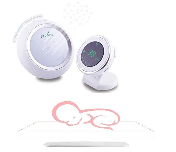 Set interfon bebelusi Nuvita Starry 3015 cu proiector de noapte + placa wireless cu senzor respiratie