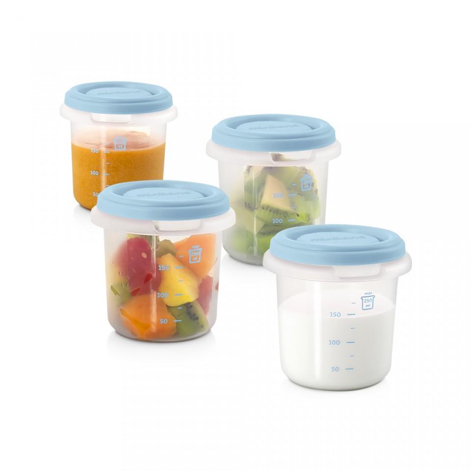 Set 4 recipiente plastic 250 ml Azure Miniland