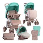 Carucior 2 in 1 Aero cos auto inclus Beige & Green Dots
