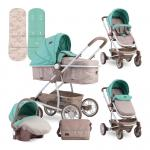 Carucior transformabil 3 in 1 S 500 Beige & Green Dots
