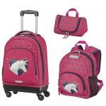 Set 3 piese pentru copii Unicornul Travelite troler, rucsac, geanta pentru cosmetice)