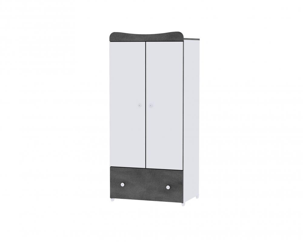 Dulap garderoba 2 usi Exclusive White Vintage Grey