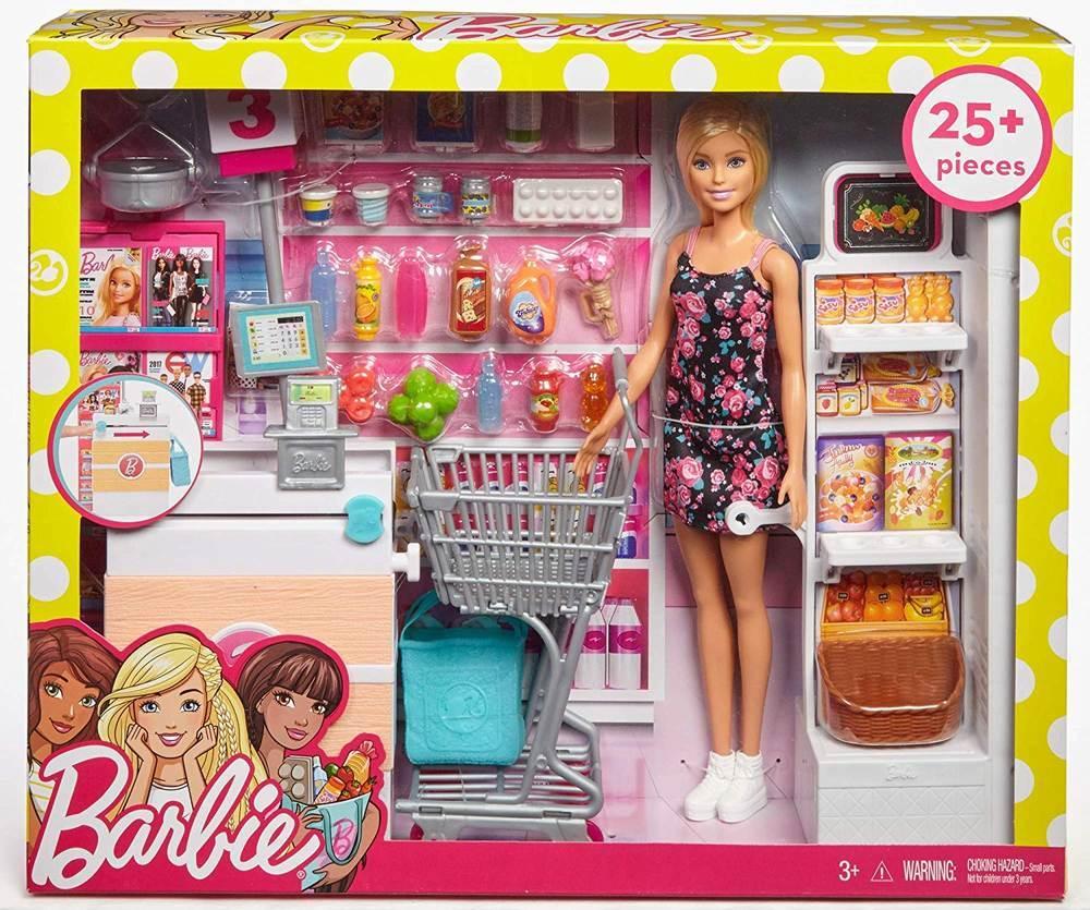 Papusa Barbie cu set de joaca Supermarket