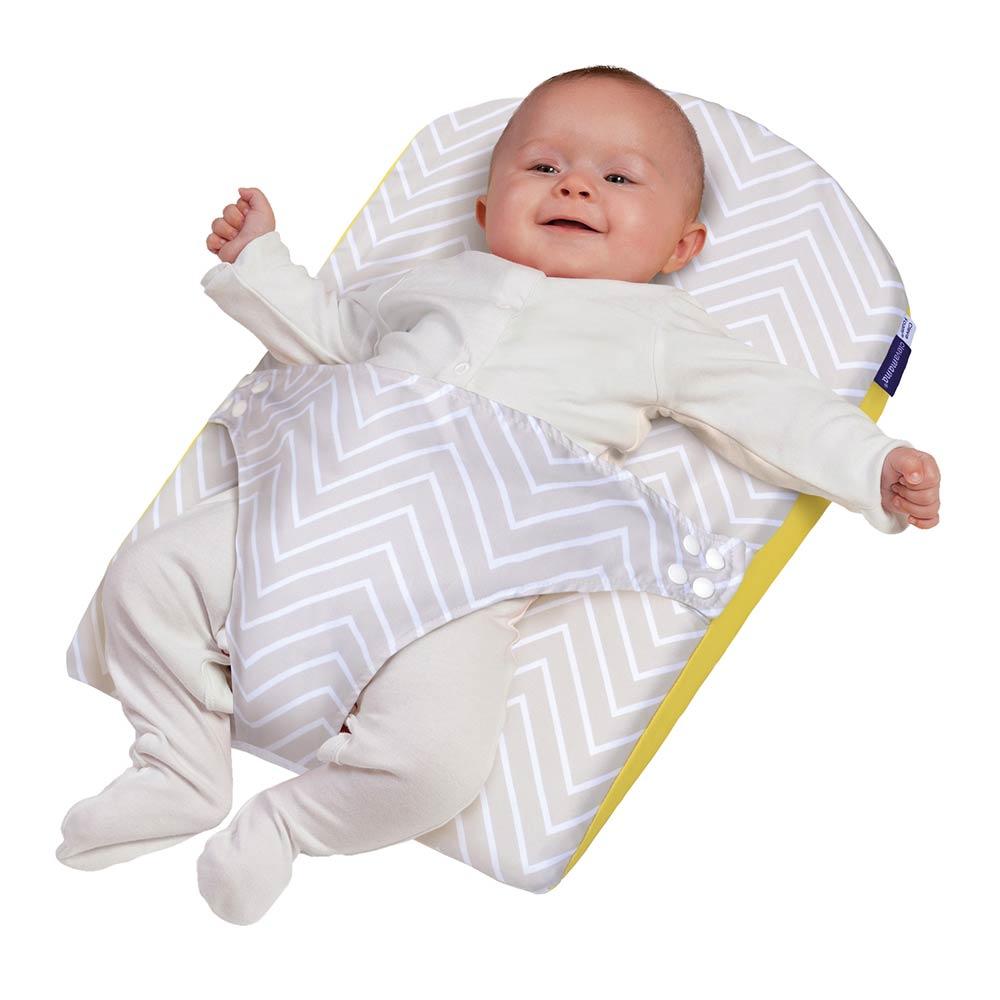 Saltea anti-alunecare cu ham pentru bebelusi Clevamama galbena