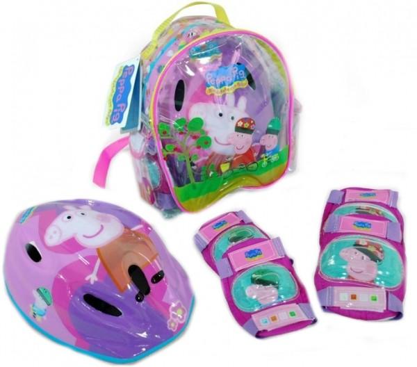 Set echipament protectie copii in ghiozdanel Peppa Pig pentru role sau bicicleta