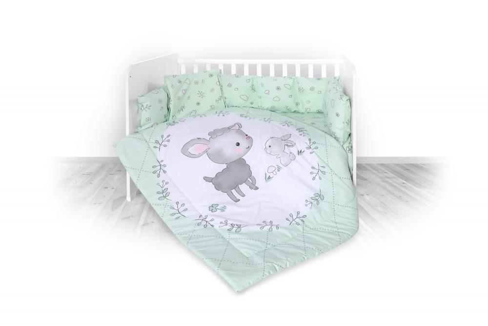 Set lenjerie pat 8 piese bumbac ranforce Trend Lamb Green imagine