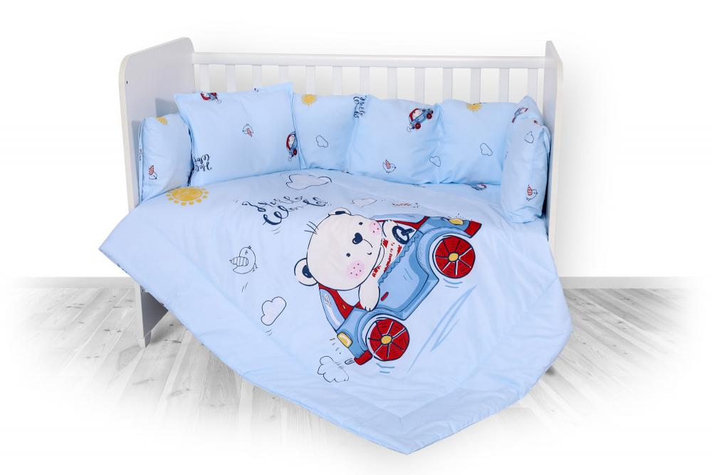 Set lenjerie pat bumbac ranforce 7 piese Lili Bear Car Blue imagine