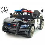 Masinuta electrica Police Patrol cu scaun de piele si roti din cauciuc Black