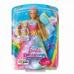 Papusa Barbie cu perie si rochita multicolora