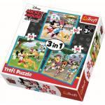 Set puzzle 3 in 1 Trefl Disney Mickey si prietenii 1x20 piese, 1x36 piese, 1x50 piese
