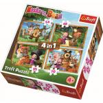 Puzzle Trefl 4 in 1 Masha aventuri in padure