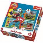 Puzzle Trefl 4 in 1 Pompierul Sam in actiune