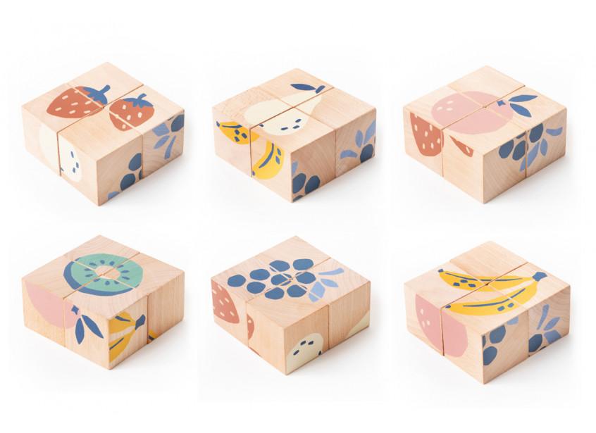 Cuburi de lemn Nobodinoz Fruits