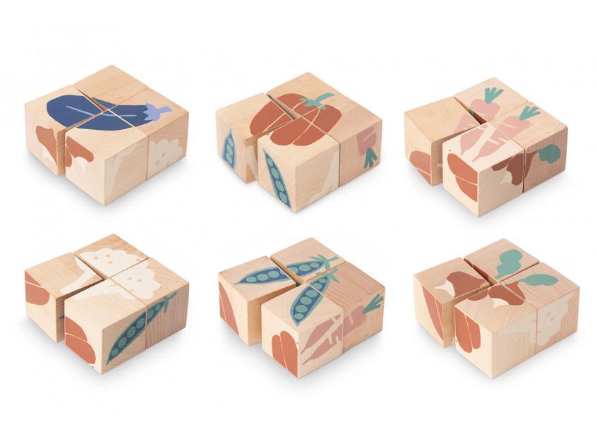 Cuburi de lemn Nobodinoz Legume