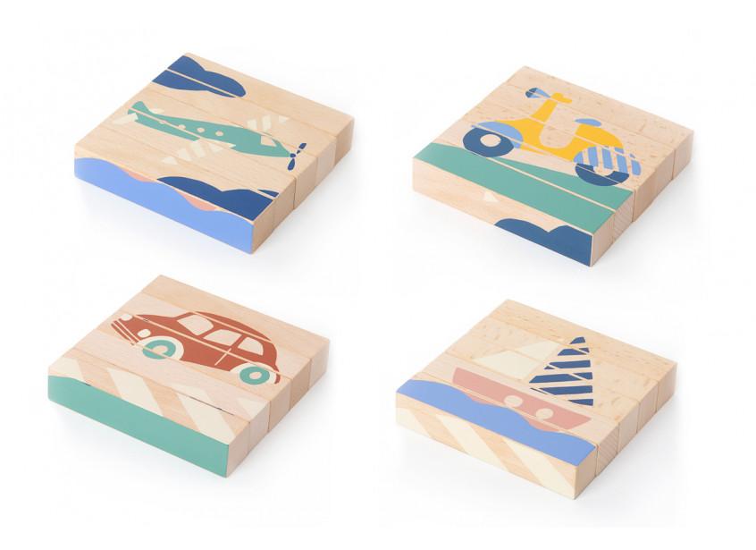 Cuburi de lemn Nobodinoz Transport