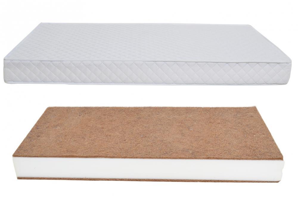 Patut din lemn Klups Tino Stars White + Saltea Comfort 8 cm