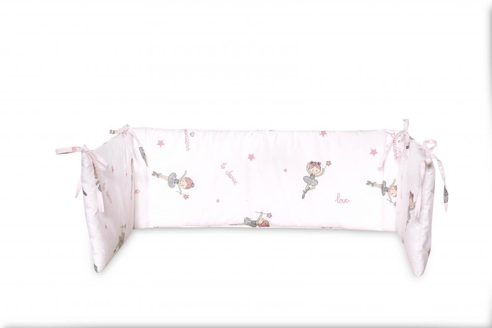 Protectie laterala pat 140 x 27 cm bumbac ranforce Ballet Pink