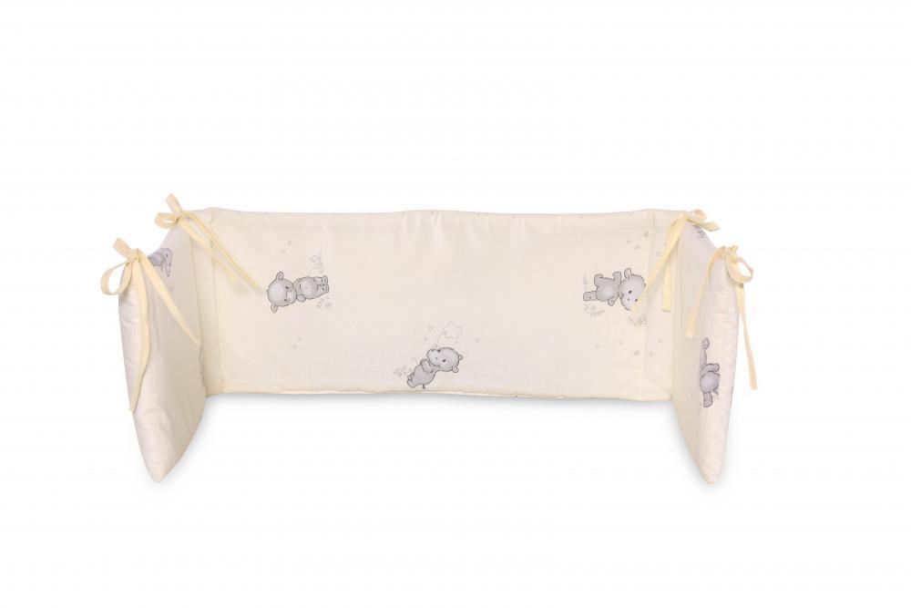 Protectie laterala pat 140 x 27 cm bumbac ranforce Happy Hippo Beige