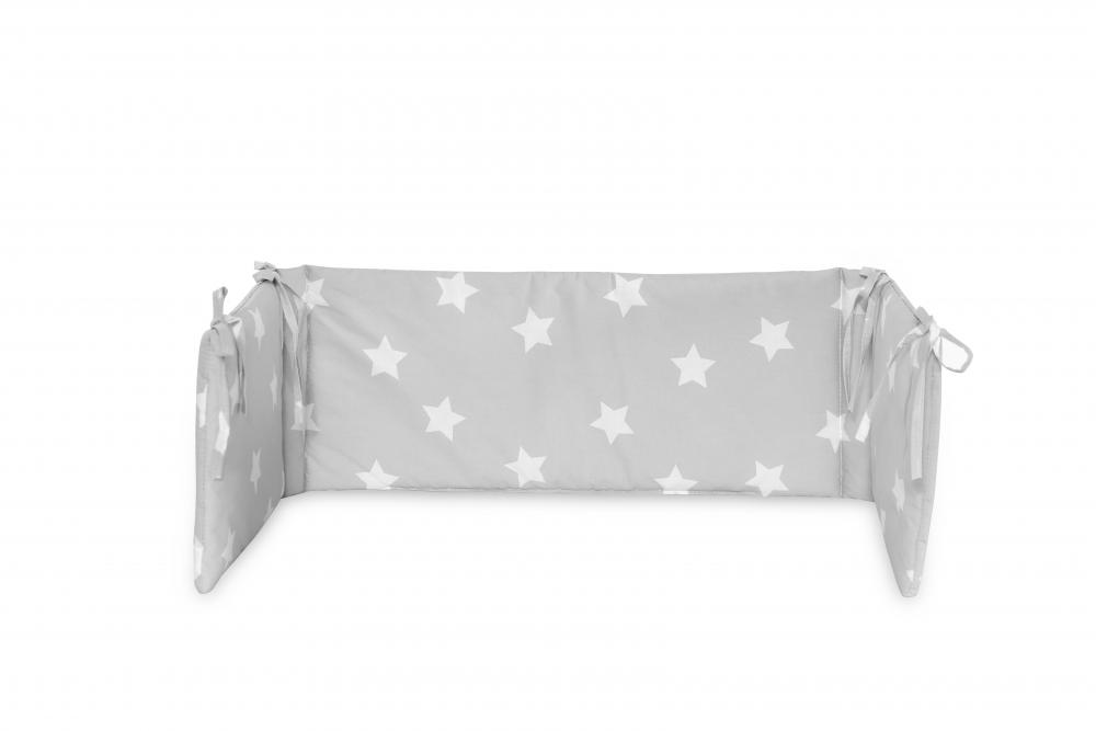 Protectie laterala pat 140 x 27 cm bumbac ranforce Stars Grey