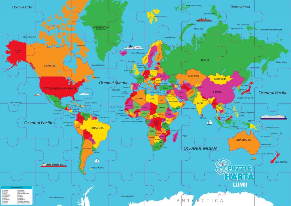 Puzzle geografic Harta Lumii 82 piese