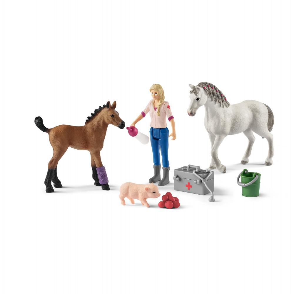 Set figurine veterinarul viziteaza iapa si manzul