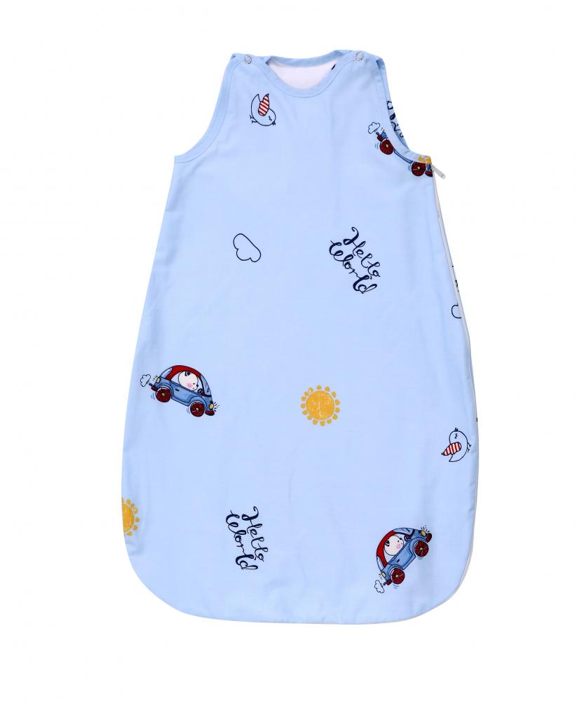 Sac de dormit de vara 100 cm bumbac ranforce Bear Car Blue