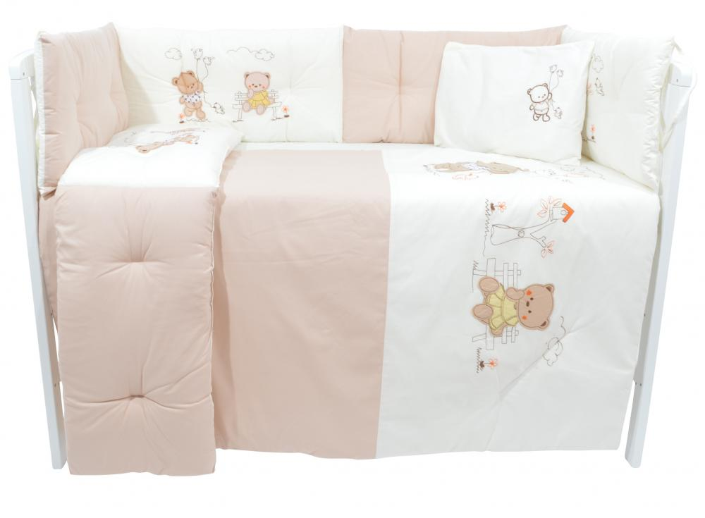 Set lenjerie patut 6 piese bumbac cu broderie Bears in the Park