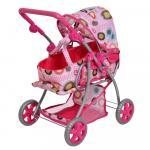 Carucior pentru papusi 2 in 1 Little Mom Pink Dots